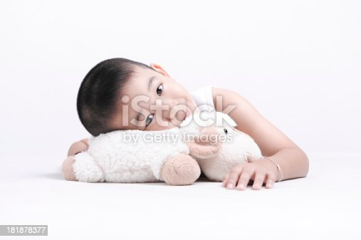 istock Adorable little boy resting in the bed closeup 181878377