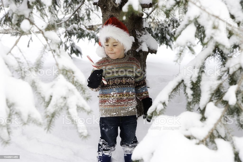 Adorable Little Boy Wearing Santa Hat Outside in Snow royalty-free stock photo
