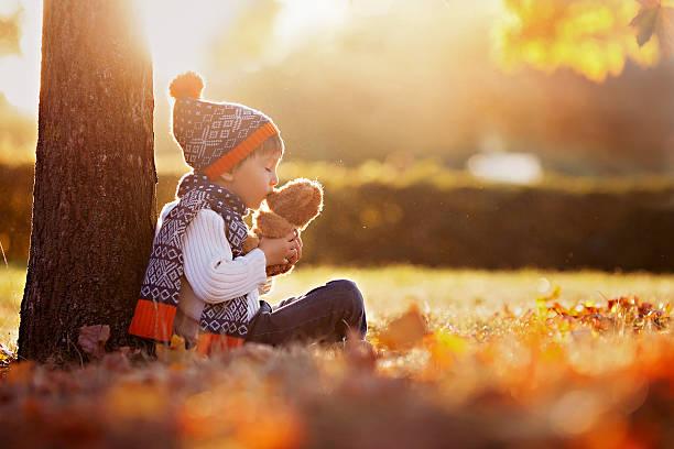 süße kleine junge mit teddy bear im park - liebesbaum stock-fotos und bilder