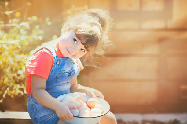Adorable little girl holding basket full of white and brown raw eggs stock photo
