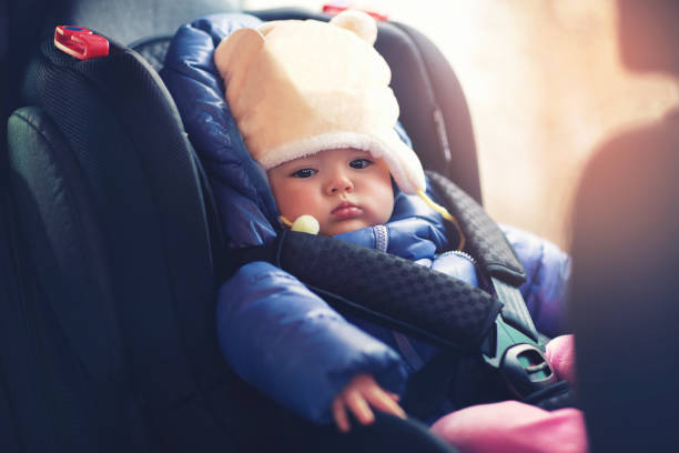 Adorable little girl sitting in car in winter clothes Adorable little girl sitting in car in winter clothes baby seat stock pictures, royalty-free photos & images