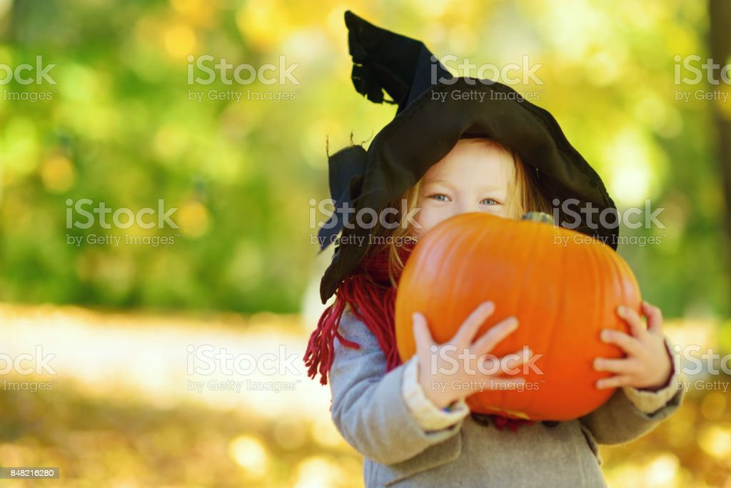 adorable little girl wearing halloween costume having fun on a pumpkin patch on autumn day royalty