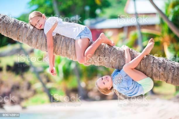 Adorable little girls at tropical beach having fun on palm tree picture id926743914?b=1&k=6&m=926743914&s=612x612&h=vx7yhjbzrzlc93nsadfpxtyjskt5smzexmk3bf0b9co=