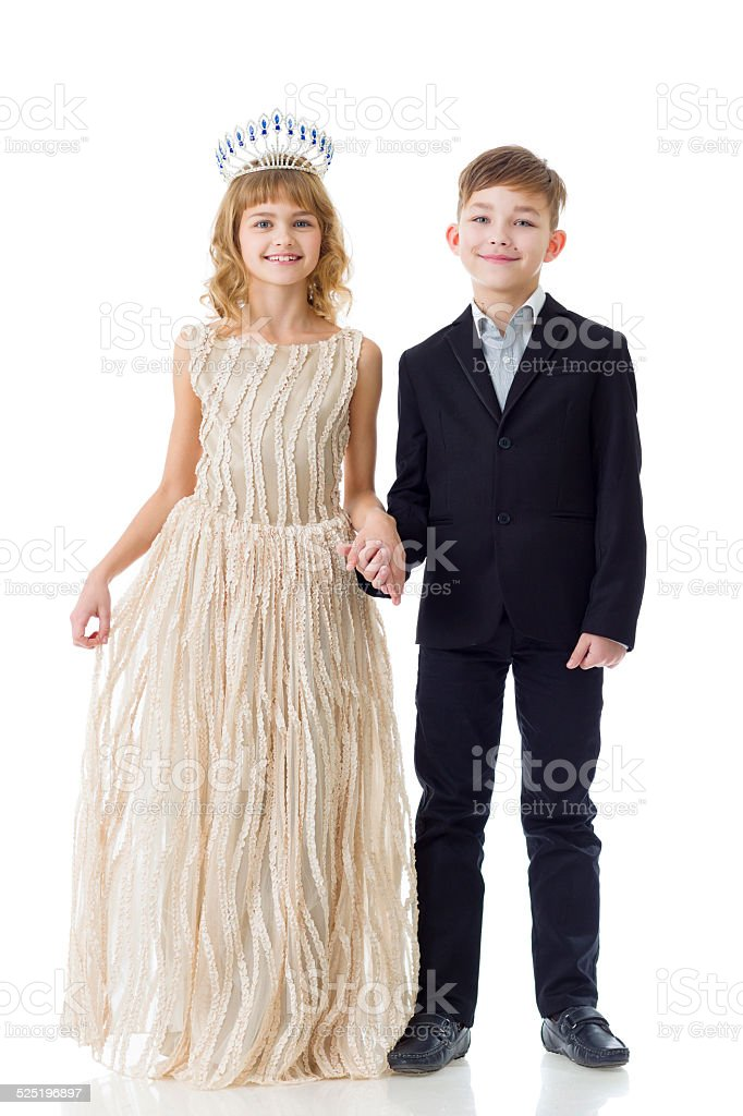 Adorable little princess and handsome boy isolated stock photo