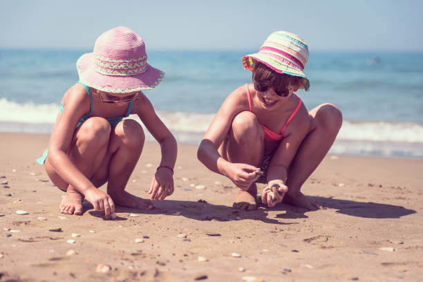adorable little sisters at beach during summer vacation - little girl picking up sea shells at the beach stock pictures, royalty-free photos & images
