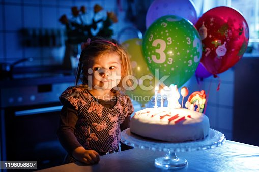 819811074 istock photo Adorable little toddler girl celebrating third birthday. Baby toddler child with homemade unicorn cake, indoor. Happy healthy toddler is suprised about firework sparkler and blowing candles on cake 1198058807
