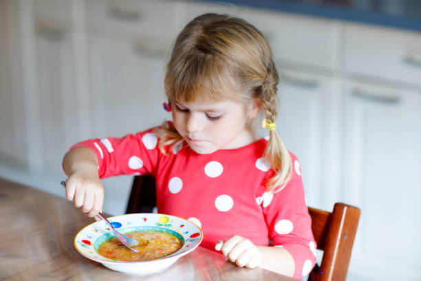Adorable little toddler girl eating fresh cooked vegetable soup in kitchen. Happy child eats healthy food for lunch or dinner. Baby learning. Home, nursery, playschool or daycare stock photo