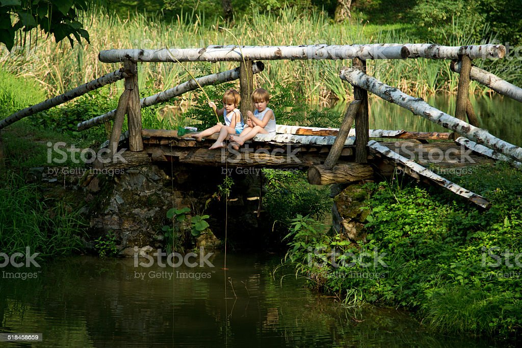 Adorable Little Twin Brothers Fishing on Beautiful Lake at Summer stock photo