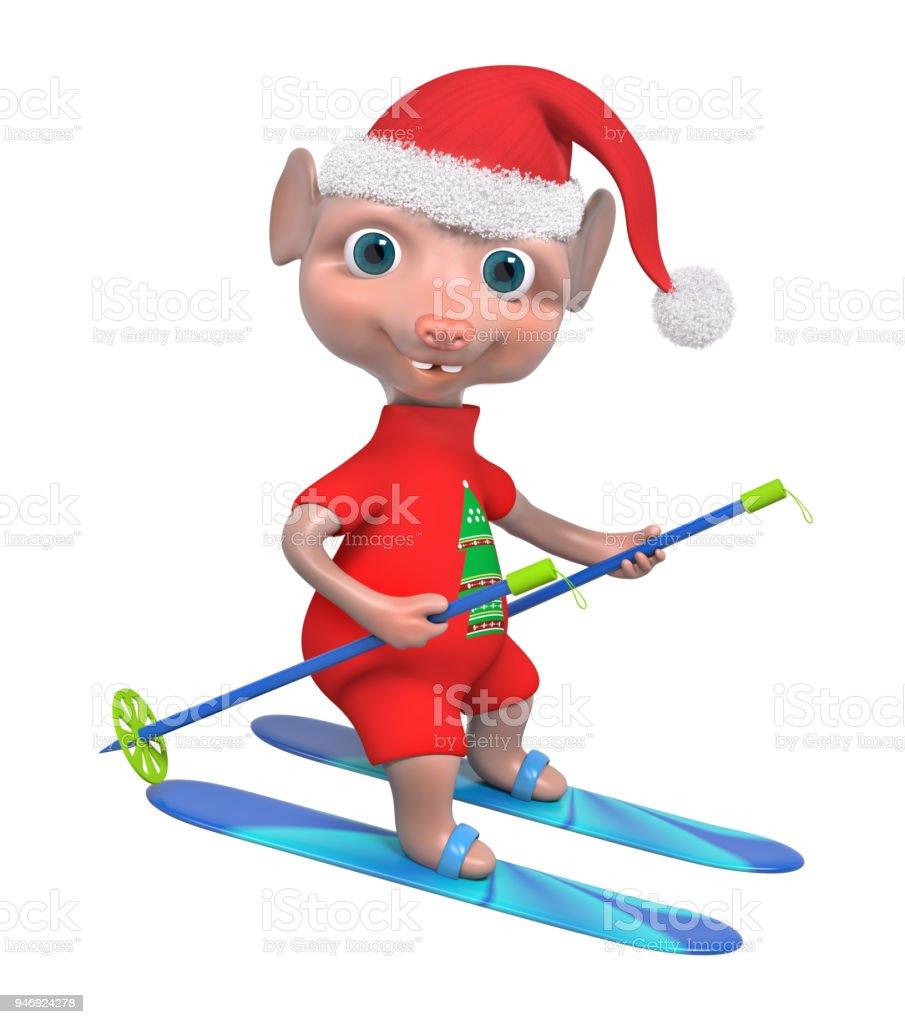 Liebenswerte Maus Junge Skifahrer 3drendering Stock-Fotografie und ...