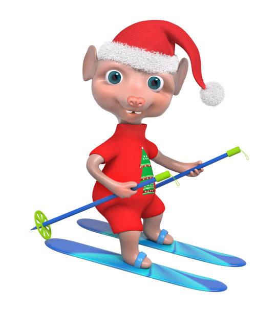liebenswerte maus junge skifahrer 3d-rendering - maus comic stock-fotos und bilder