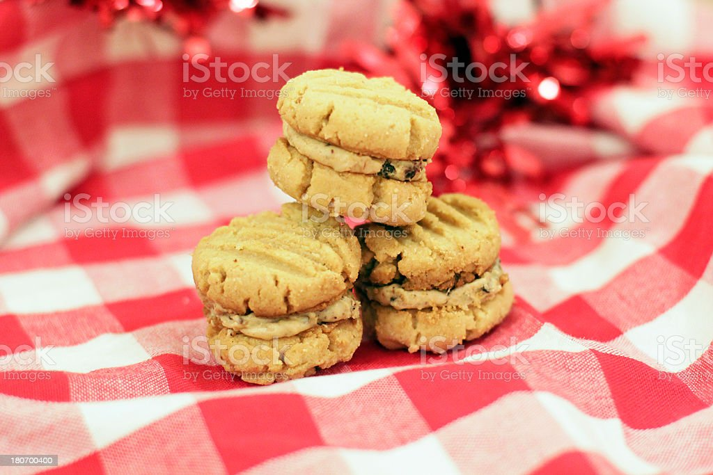 Adorable Peanut Butter Sandwich Cookies Close-up royalty-free stock photo