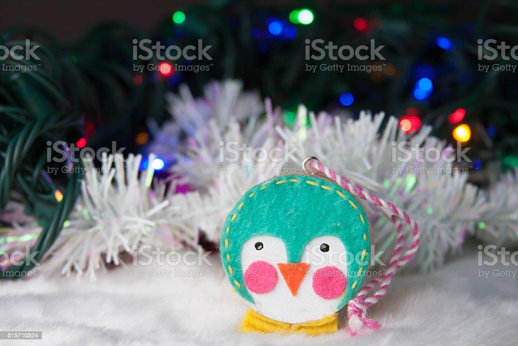 Adorable penguin Christmas tree ornament stock photo