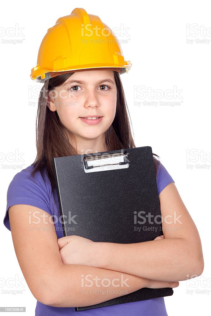 Adorable preteen girl with helmet royalty-free stock photo