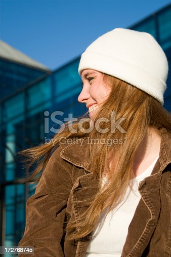 624206636 istock photo Adorable Redhead Teenage Young Woman Portrait Outside, Windy, Sunny Day 172768745