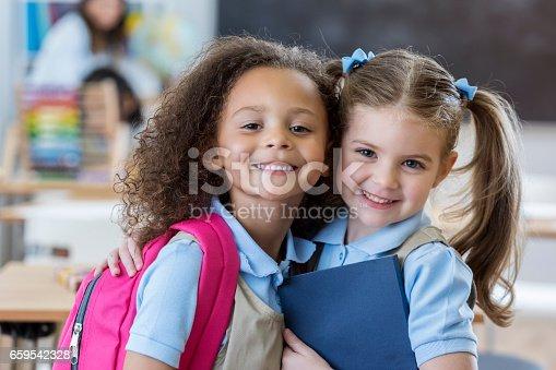 istock Adorable schoolgirls in class 659542328