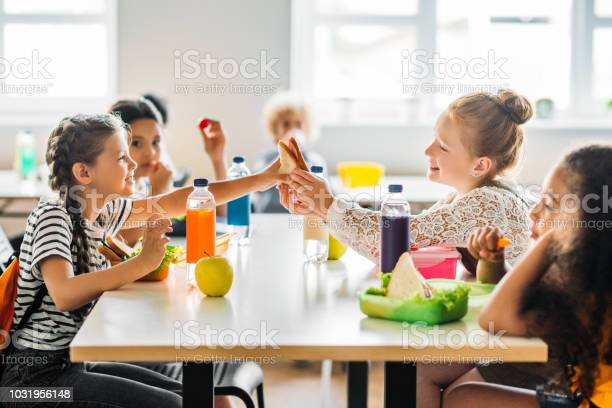 Adorable schoolgirls taking lunch at school cafeteria picture id1031956148?b=1&k=6&m=1031956148&s=612x612&h=kzmgp7bk1dpapvmbobfvn4f4ccncc1vxmyomqgtynts=