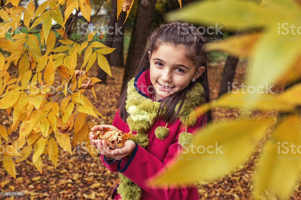 Adorable teenage girl in nature with dry leaves in hands stock photo