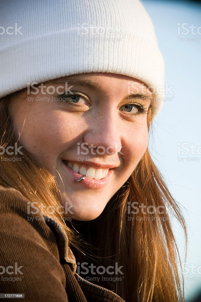 Adorable Teenage Redhead Young Woman Smiling, Outdoor Portrait stock photo