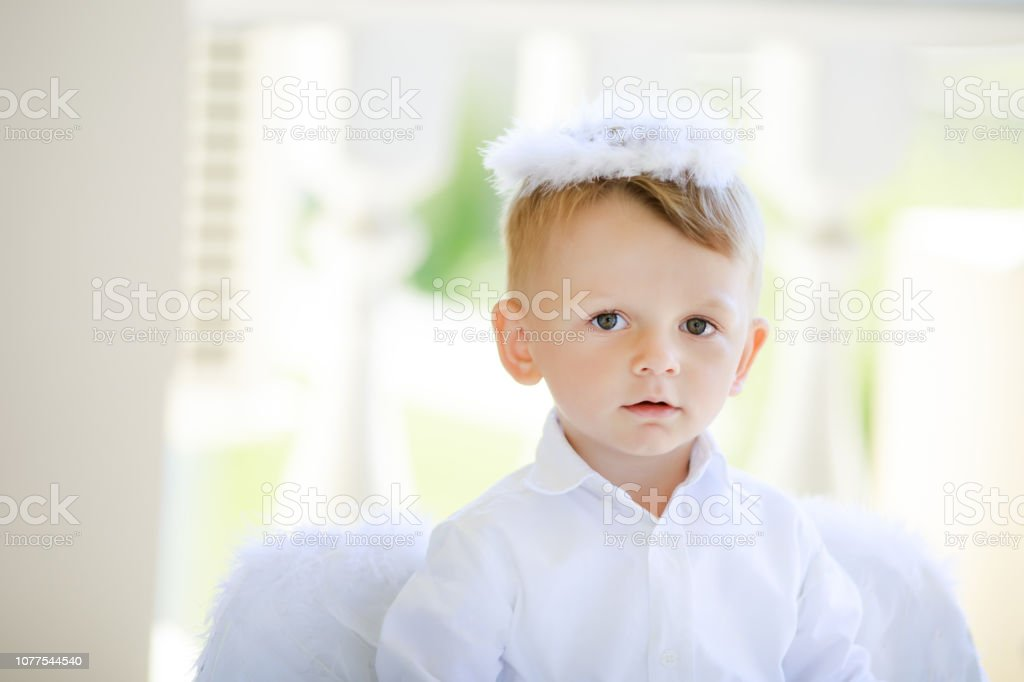4145f3ba3bd Adorable Toddler Boy In Angel Costume Angelic Child Stock Photo ...