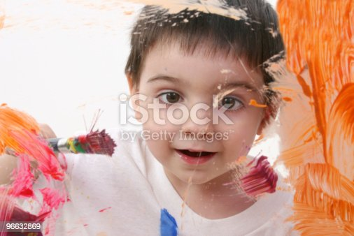 123499844istockphoto Adorable Toddler Boy Painting On Glass 96632869