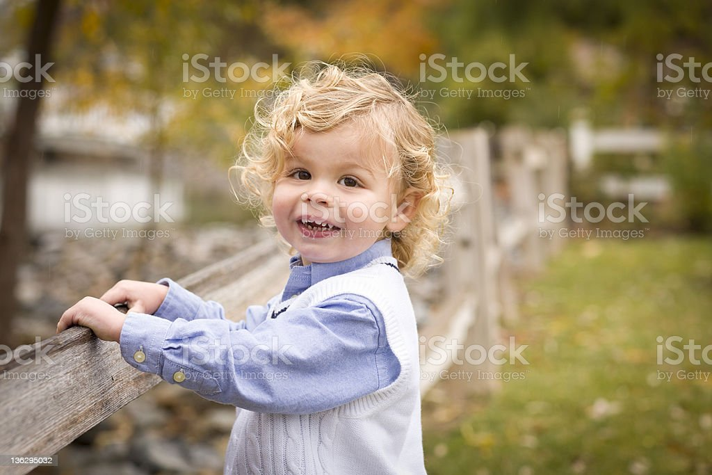 Adorable Young Boy Playing Outside royalty-free stock photo