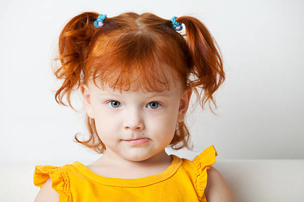 Adorable Young Girls Head Shot stock photo