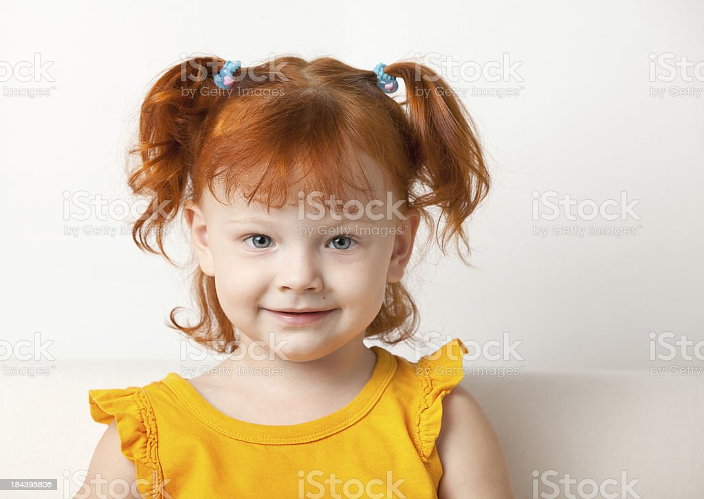 Adorable Young Red-Haired Girls Head Shot royalty-free stock photo