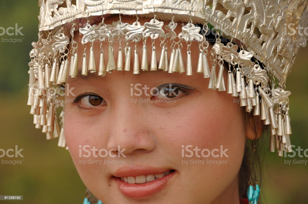 Adorable. Zhuang minority girl - Longsheng, China stock photo