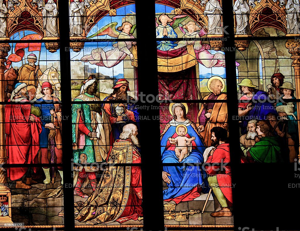 Adoration of the Magi (Epiphany) - Stained Glass stock photo