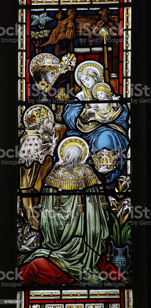 Adoration stained glass window royalty-free stock photo