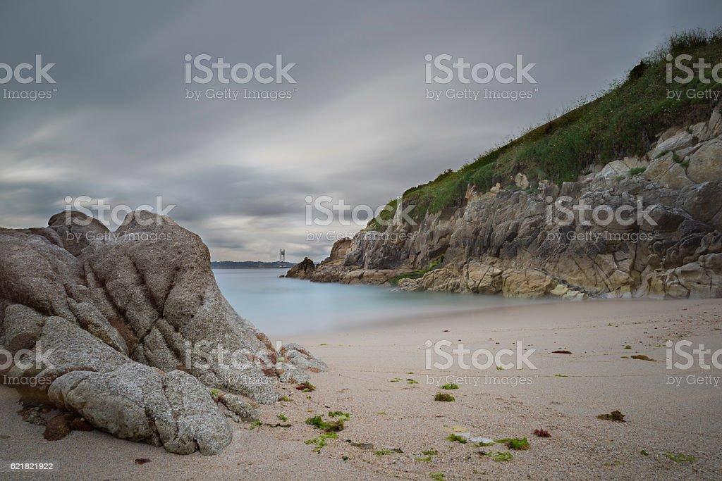 Adormideras beach (La Coruna, Spain). stock photo