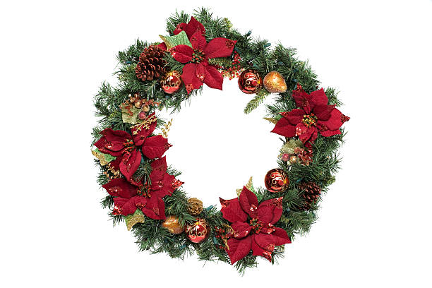 Adorned Christmas Wreath with Ornaments, on White, Copy Space stock photo