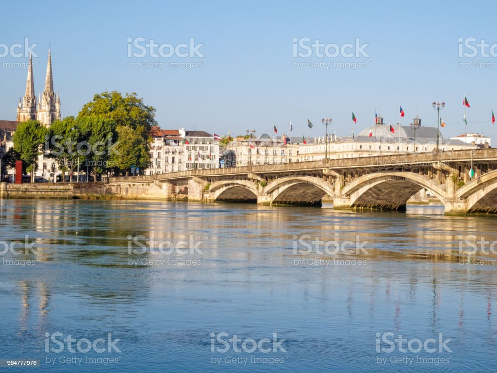 Adour River and Saint-Esprit bridge - Bayonne royalty-free stock photo