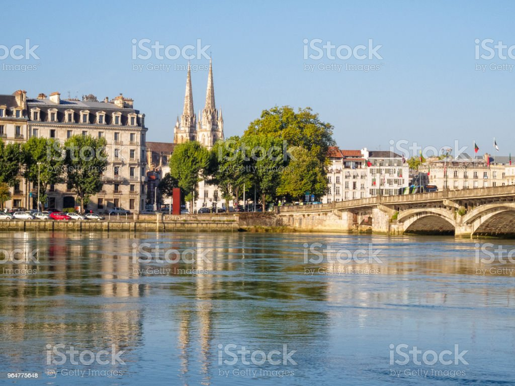 Adour River and the Cathedral of Saint Mary - Bayonne royalty-free stock photo