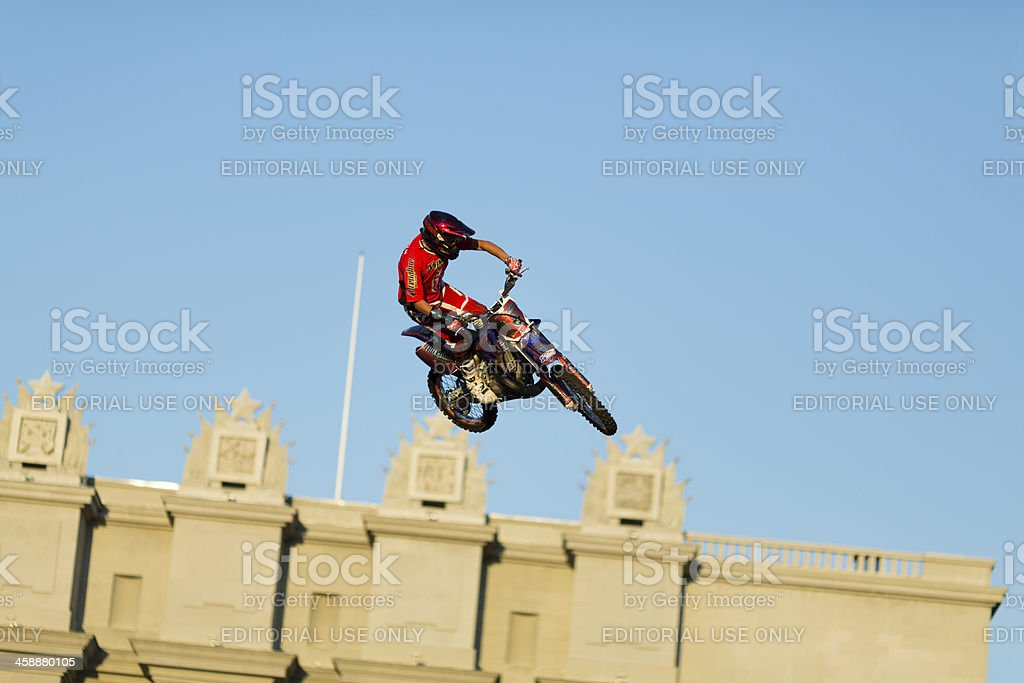 Adrenalin Rush FMX show, rider performs a trick stock photo