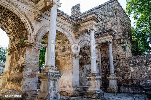 istock Adrian Gate, Antalya landmark, Turkey. Antique construction of marble and limestone. 1154451583