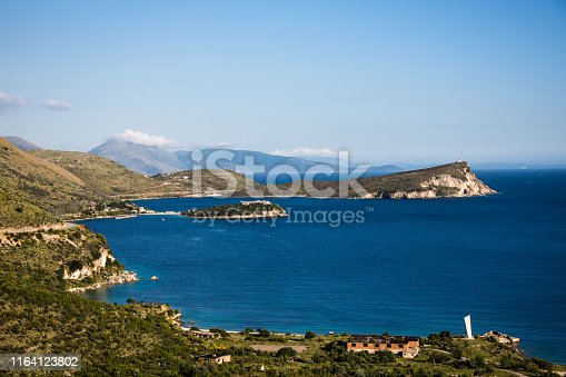 The adriatic coast in Albania between Dhermi and Saranda, the Al  Pasha castle in the background,