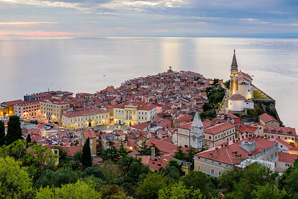 Adriatic sea and city of Piran Panoramic view of Adriatic sea and city of Piran in Istria, Slovenia. former yugoslavia stock pictures, royalty-free photos & images