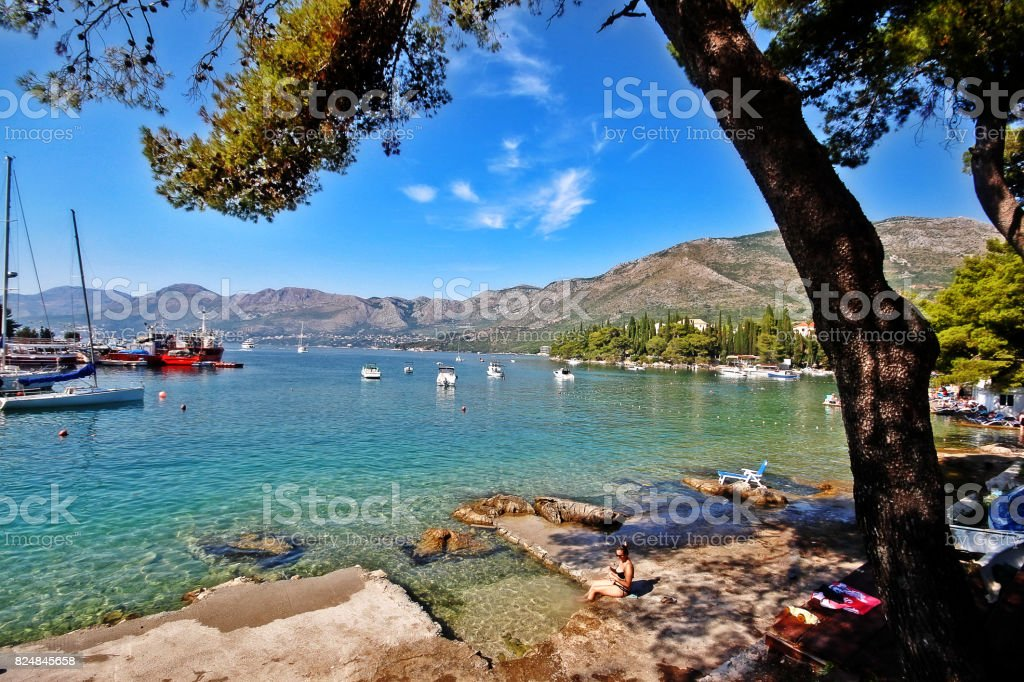 Adriatic Sea coast in Cavtat, Dubrovnik-Neretva County, Croatia stock photo