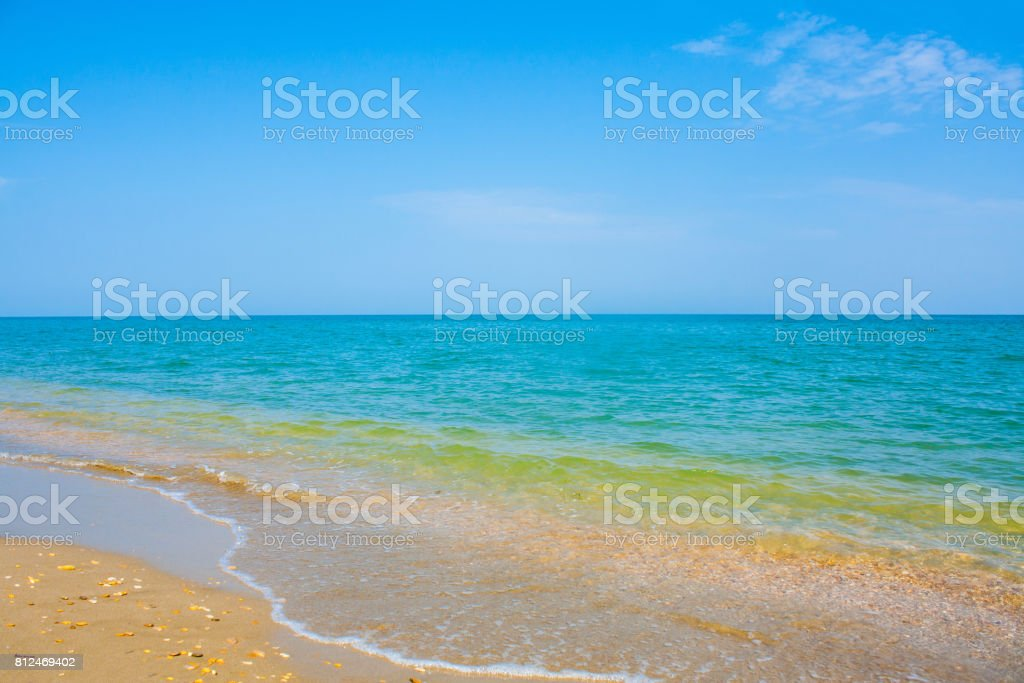 Adriatic Sea coast view. Seashore of Italy, Beach Summer background stock photo