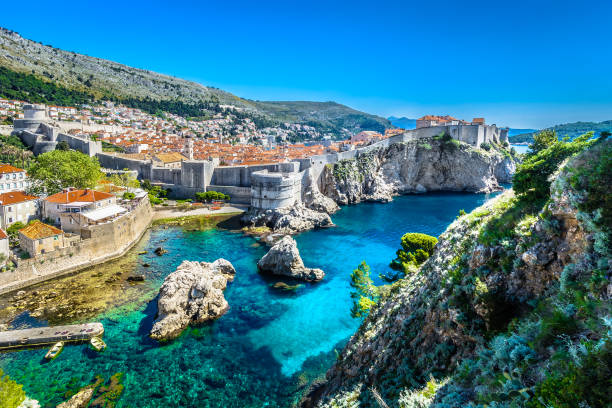Adriatic Sea Dubrovnik landscape. Aerial panoramic view at famous european travel destination, Dubrovnik cityscape on Adriatic Coast, Croatia. croatian culture stock pictures, royalty-free photos & images