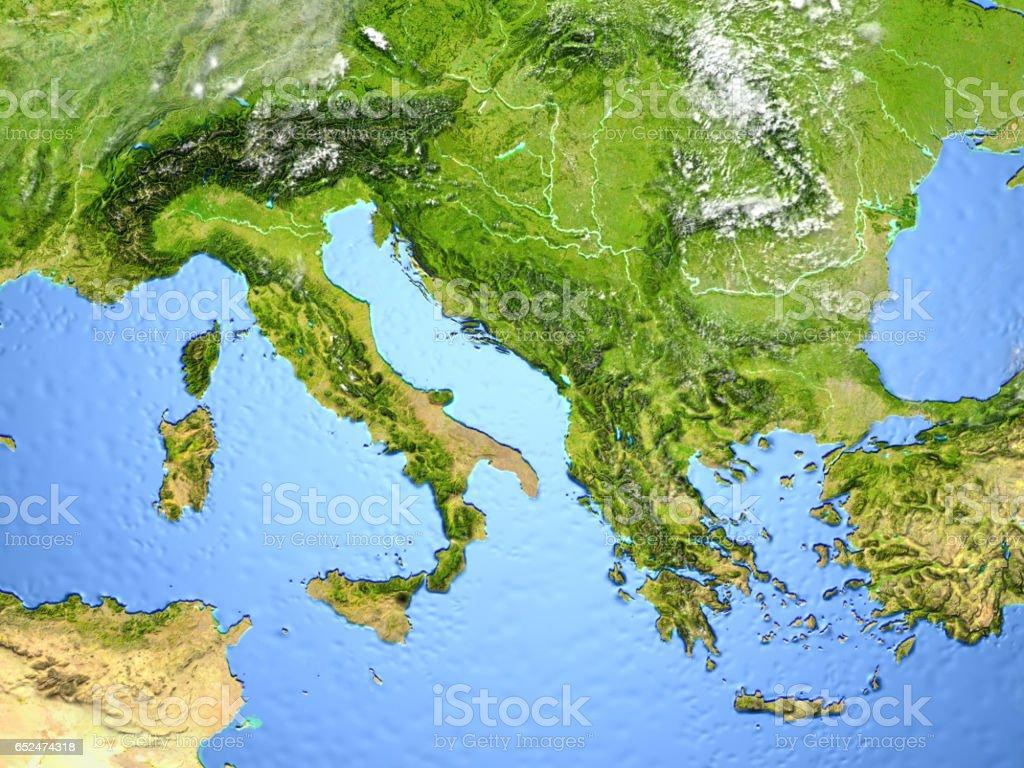 Adriatic sea region on planet Earth stock photo