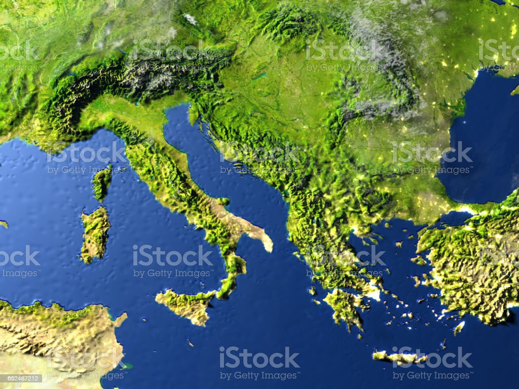 Adriatic sea region on planet Earth stock photo