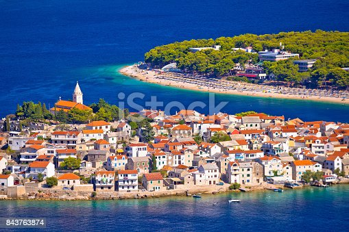 istock Adriatic tourist destination of Primosten aerial panoramic archipelago view, Dalmatia, Croatia 843763874