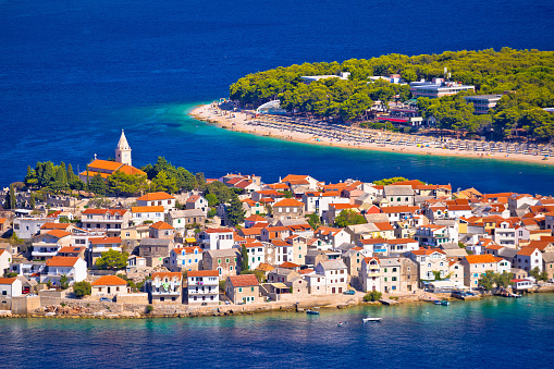 istock Adriatic tourist destination of Primosten aerial panoramic archipelago view, Dalmatia, Croatia 843763874