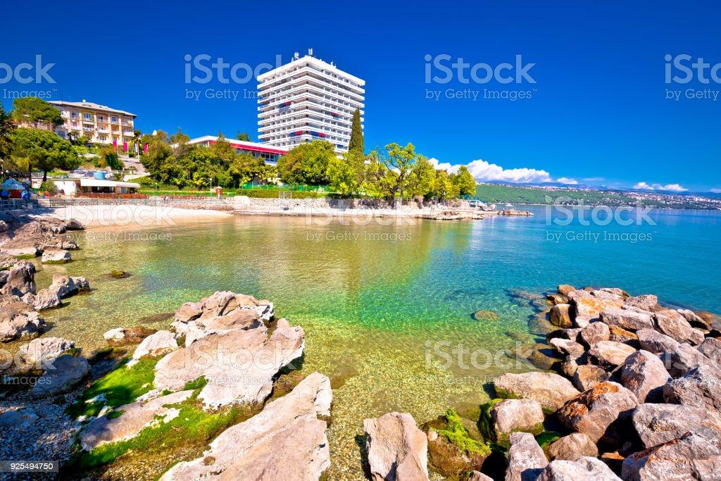 Adriatic town of Opatija beach and waterfront view, Kvarner bay, Croatia stock photo