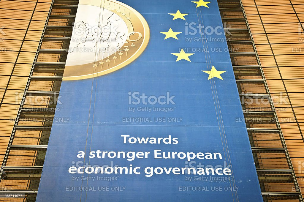Ads on the facade of Berlaymont building, Brussels stock photo