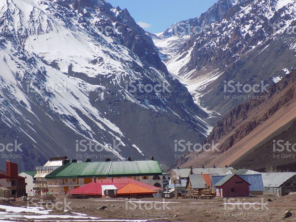 Aduana chilena en los Andes stock photo