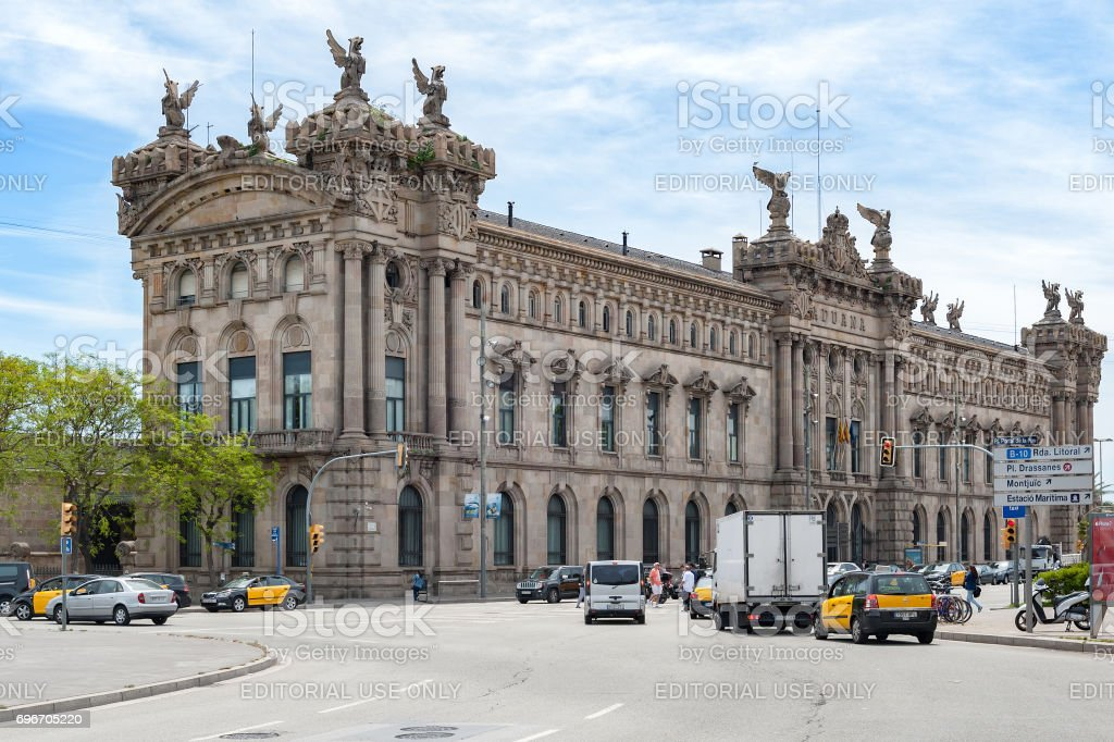 Aduana de Barcelona, old customs building (designed by Sagnier i Villavecchia) built in neoclassical style at Port Vell. stock photo
