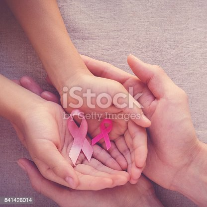 istock Adult and child hands holding pink ribbons, Breast cancer awareness, abdominal cancer awareness and October Pink 841426014